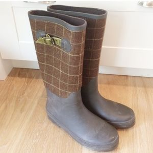 COPY - J.Crew Brown Tweed Rain Boots With Olive A…